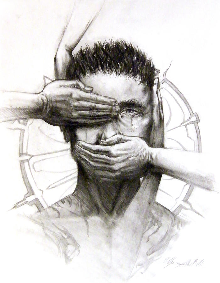 Four Hands Drawing - Confession by Ulysses Albert III