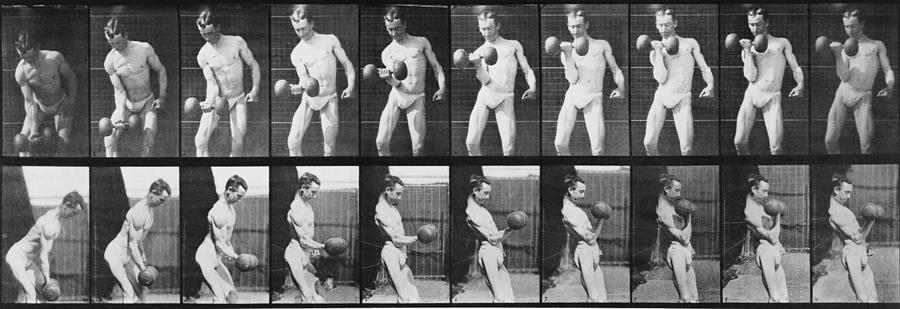 Consecutive Images Of Man Lifting Photograph