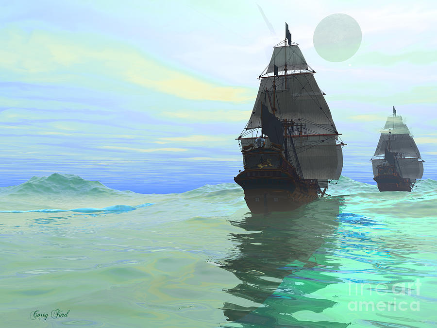 Sailing Painting - Consort by Corey Ford