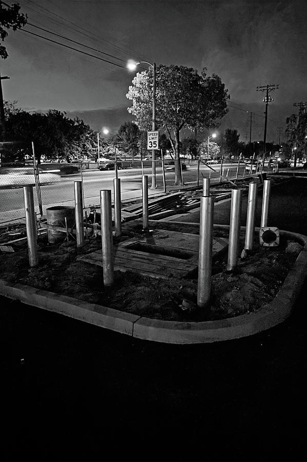 Construction Site City Night Scene In Bw Photograph
