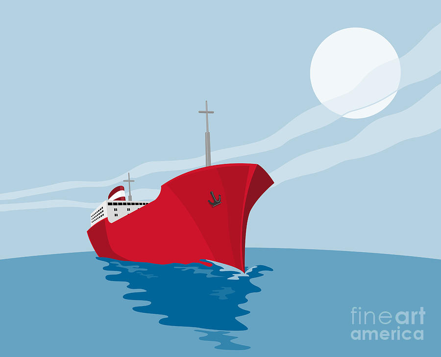 Container Ship Cargo Boat Retro Digital Art