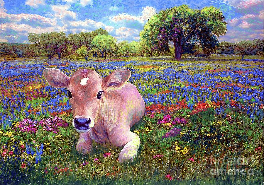 Contented Cow In Colorful Meadow Painting