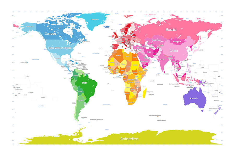 World Map Digital Art - Continents World Map Large Text For Kids by Michael Tompsett