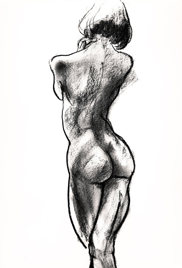 Female Nudes Drawing - Contra Posta Female Nude by Roz McQuillan