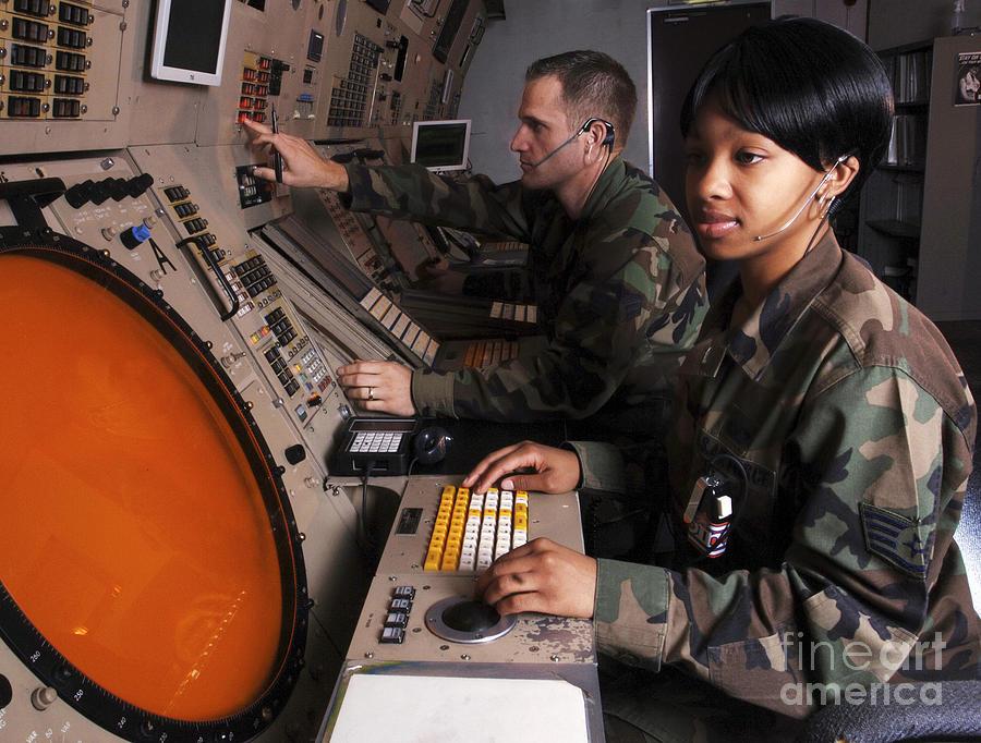 Control Technicians Use Radarscopes Photograph