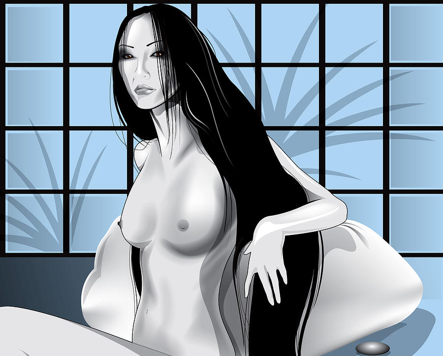 Long Black Hair Drawing - Cool Blue by Brian Gibbs