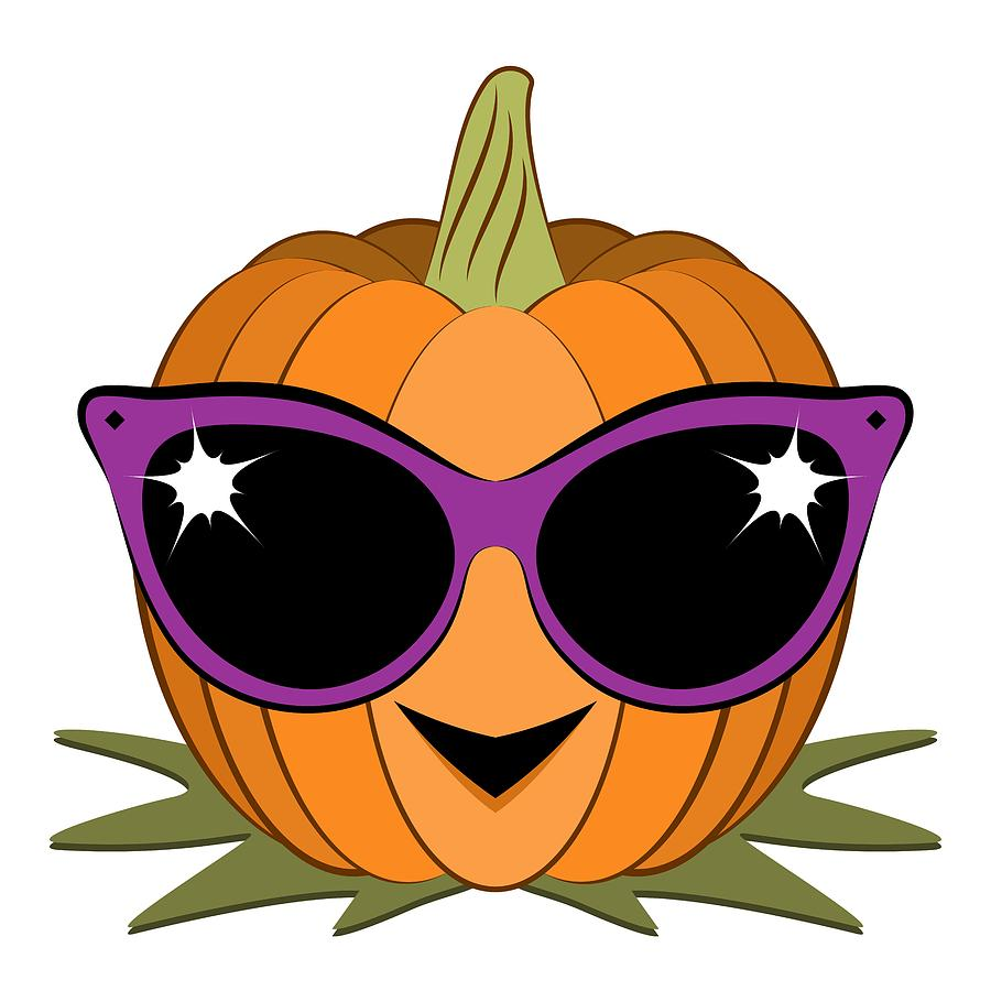 Cool pumpkin wearing retro cat sunglasses digital art by for Awesome pumpkin drawings