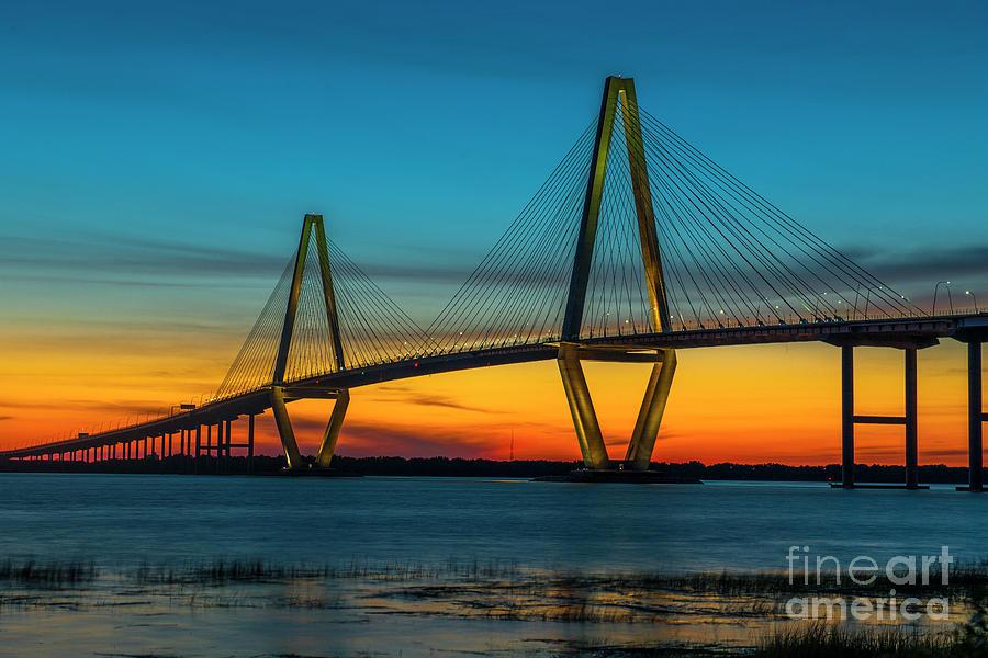 Cooper River Bridge Orange Glow Photograph