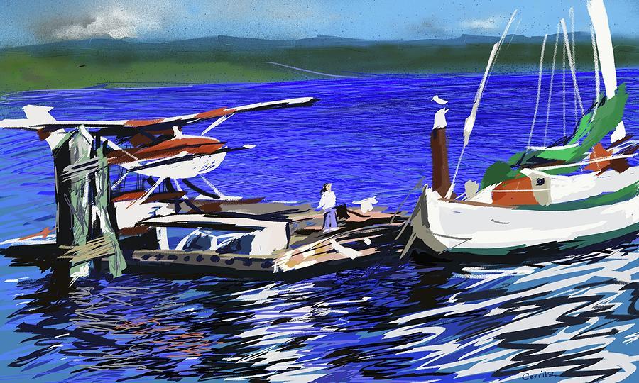Coos bay dockside digital art by brian gerritsen for Coos bay fishing