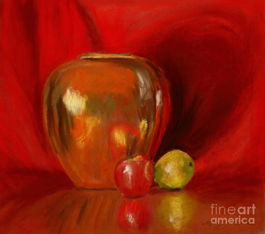 Still Life Painting - Copper Pot And Fruit by Mary Benke
