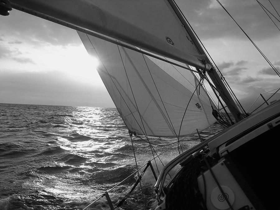 Coquette Sailing Maui Sunset Sails Sailboat Custin Ryan Black And White Water Ocean Spray Yacht Photograph - Coquette Sailing by Dustin K Ryan