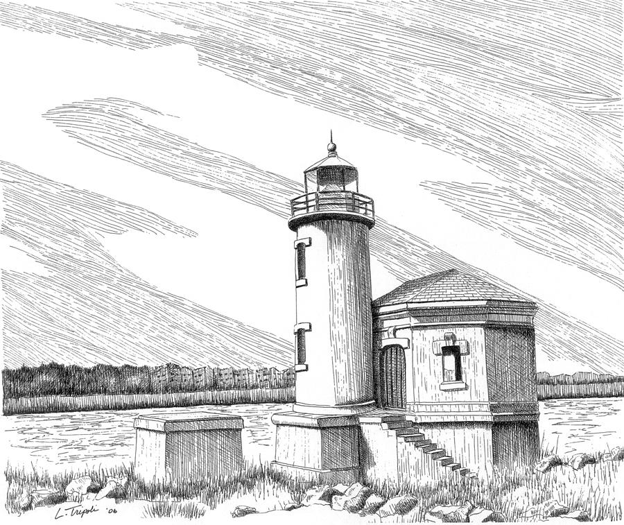 Lighthouse Drawing - Coquille River Lighthouse by Lawrence Tripoli