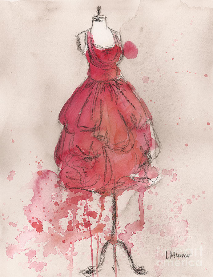 Vintage Dress Painting - Coral Pink Party Dress by Lauren Maurer