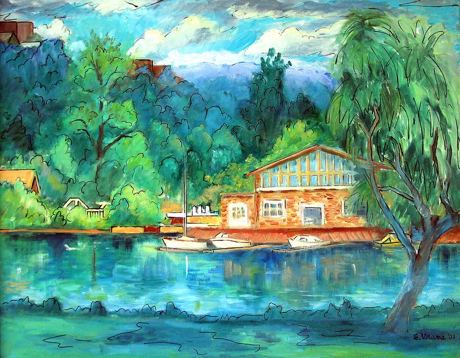 Cauga Lake Painting - Cornell Boathouse by Ethel Vrana