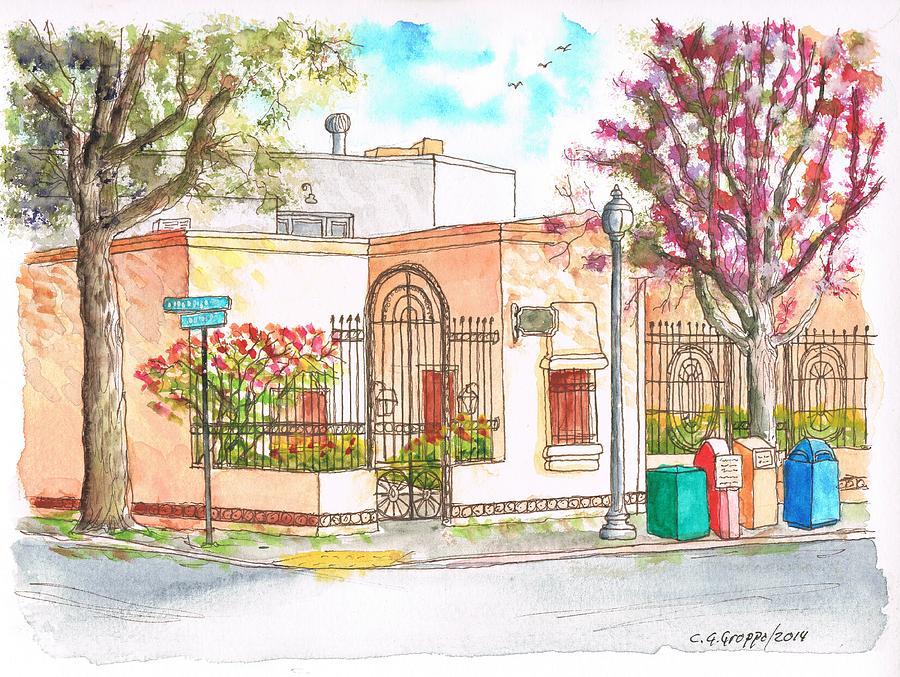 Corner With Bougainvillas In San Luis Obispo, California Painting