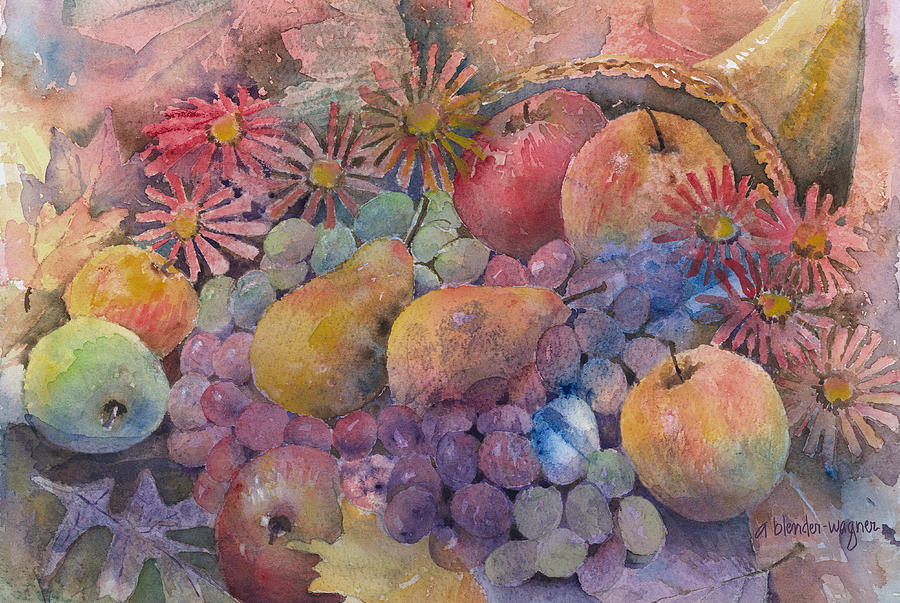 Cornucopia Painting - Cornucopia Of Fruit by Arline Wagner