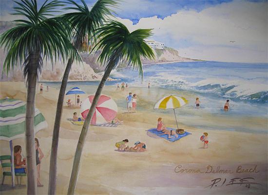 Beach Painting - Corona Del Mar Beach by Peter Lee