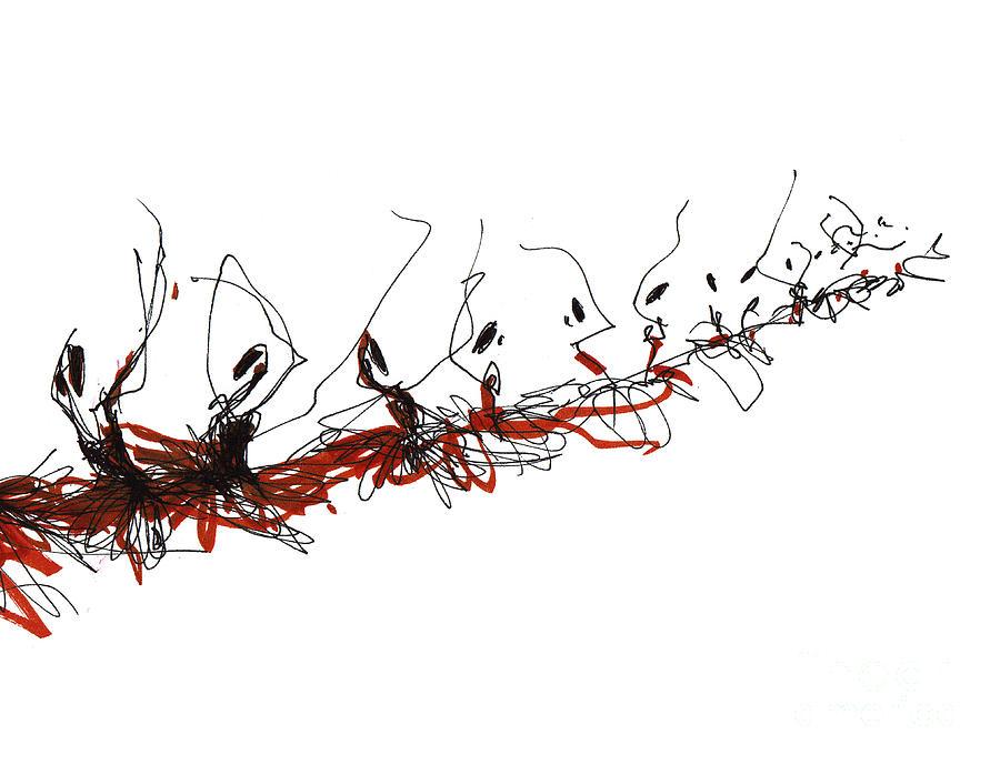 Corps De Ballet Drawing - Corps De Ballet In Red Tutus by Lousine Hogtanian
