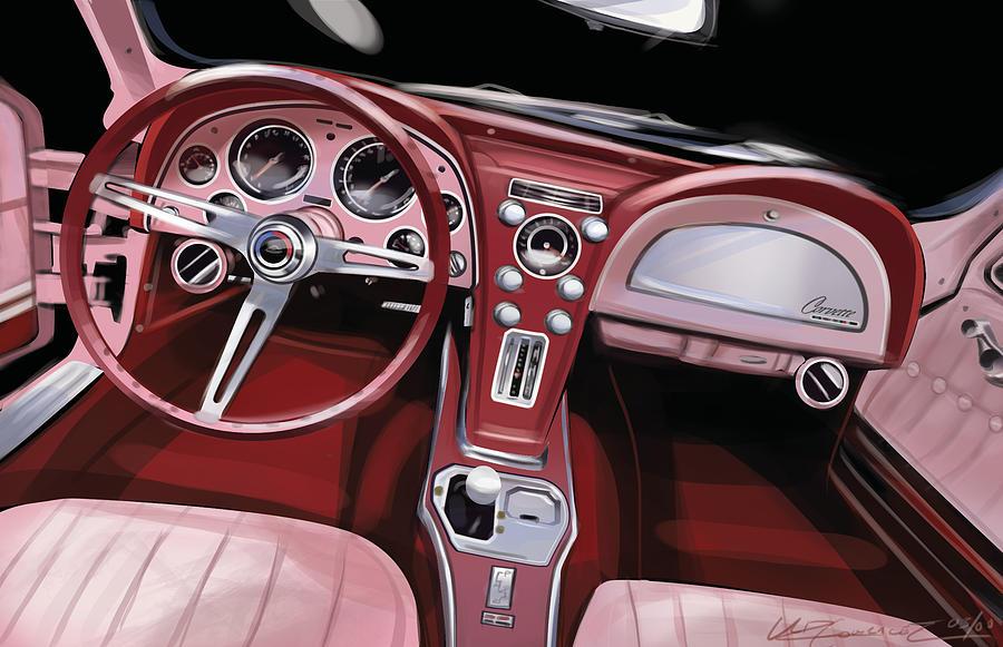 Digital Artwork Painting - Corvette Sting Ray Interior by Uli Gonzalez