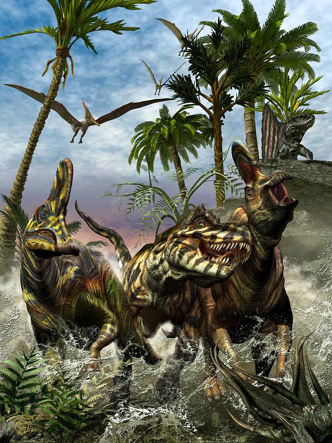 Corythosaurus Digital Art - Corythosaurus Last Run by Kurt Miller