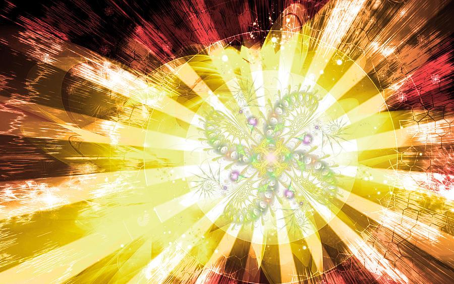 Corporate Digital Art - Cosmic Solar Flower Fern Flare 2 by Shawn Dall