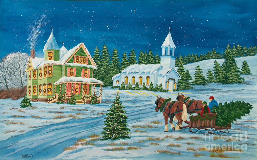 Winter Scene Paintings Painting - Country Christmas by Charlotte Blanchard