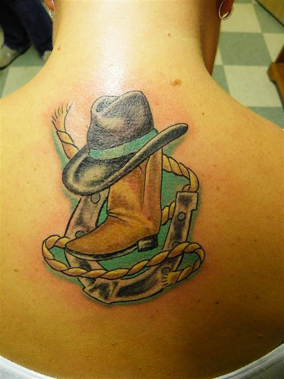 Country girl mixed media by tattoo joe for Cowboy boot tattoo
