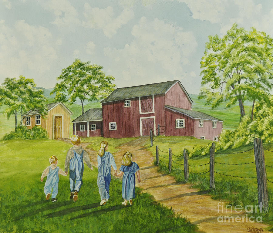 Country Kids Art Painting - Country Kids by Charlotte Blanchard