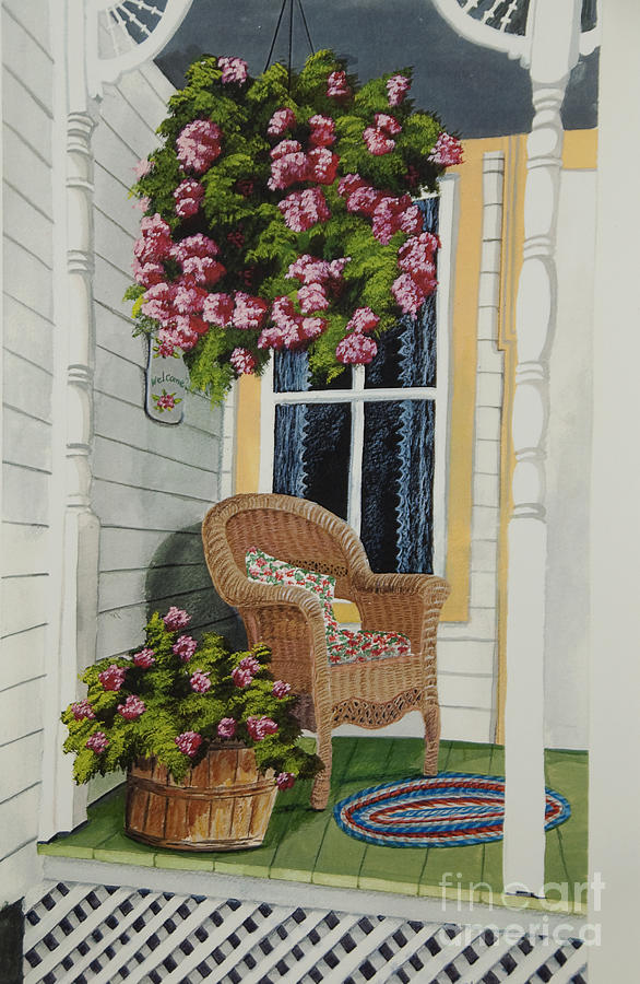 Country Porch Painting - Country Porch by Charlotte Blanchard