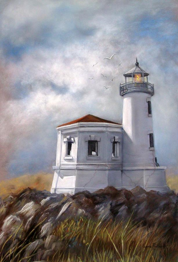 Oregon Lighthouse Painting - Couquille River Lighthouse  Bandon Ore. by Lynne Parker