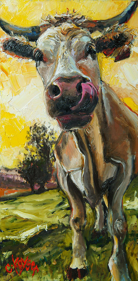 Cow Painting - Cow 1 by Claire Kayser
