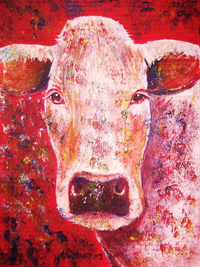 Cow Painting - Cow by Anastasis  Anastasi