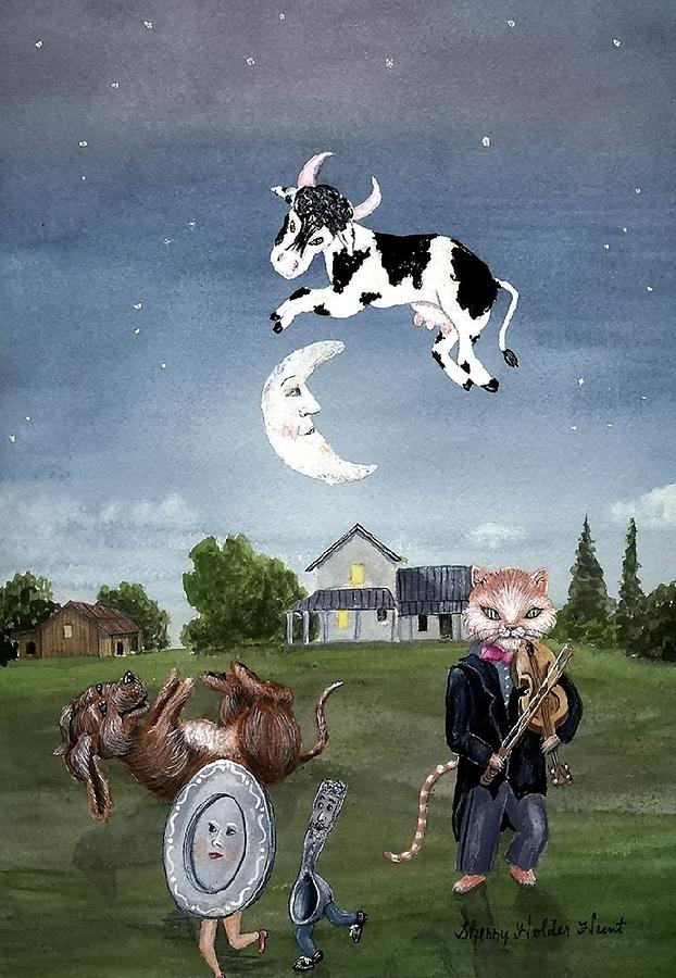 Nursery Rhyme Painting - Cow Jumped Over The Moon by Sherry Holder Hunt