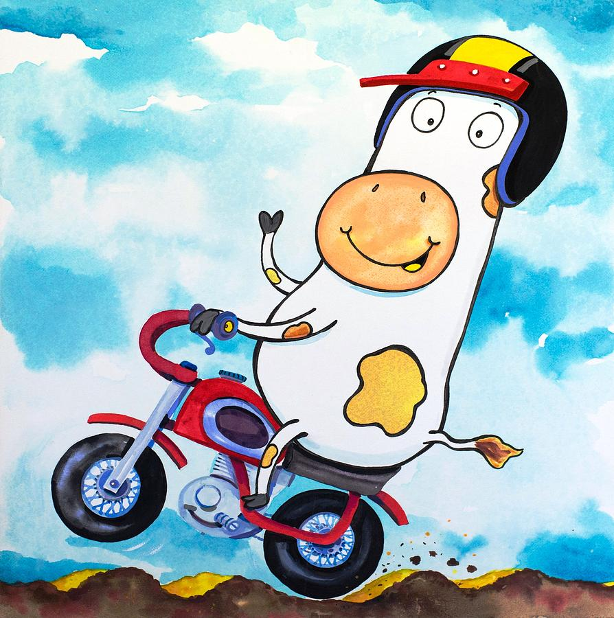 Cow Painting - Cow Motocross by Scott Nelson