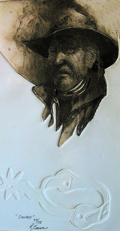 Etching Drawing - Cowboy by Robert Carver