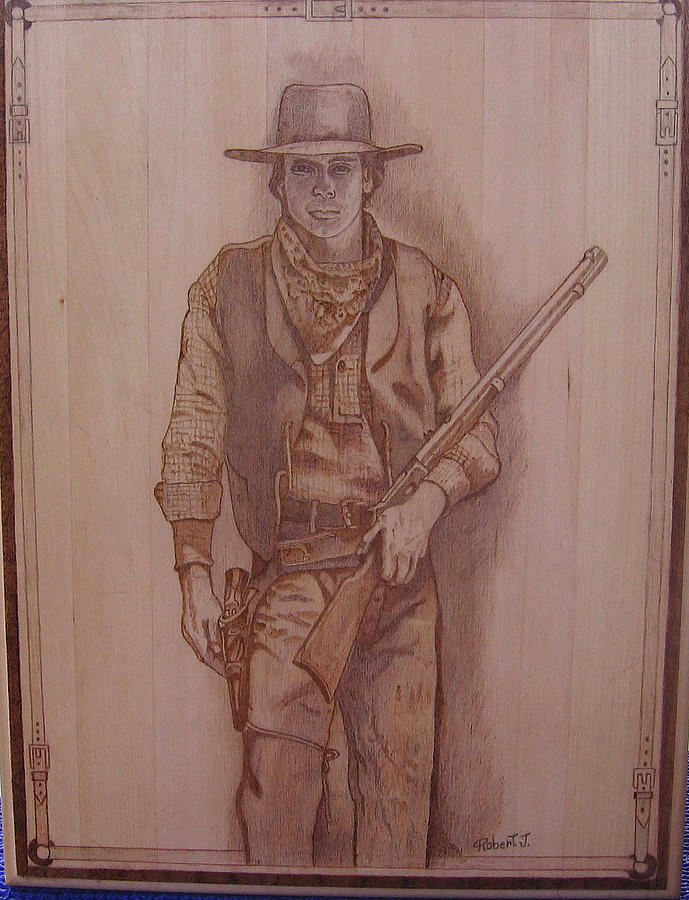 Pencil Sketch On 12x16 Basswood Plaque. Pyrographed With Varying Degrees Of Heat For Different Tone. Cowboy Pyrography - Cowboy With Friends by Rj Schiller