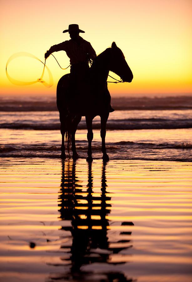 Sunset Photograph - Cowboy by Zarija Pavikevik