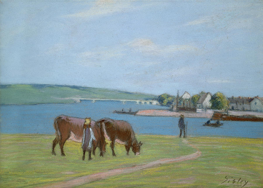Impressionism Pastel - Cows On The Banks Of The Seine At Saint Mammes by Alfred Sisley
