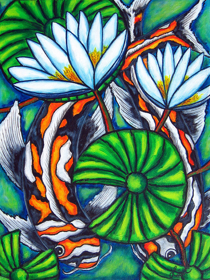 Koi Painting - Coy Carp by Lisa  Lorenz