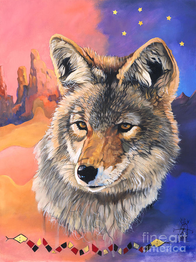 Southwest Art Painting - Coyote The Trickster by J W Baker