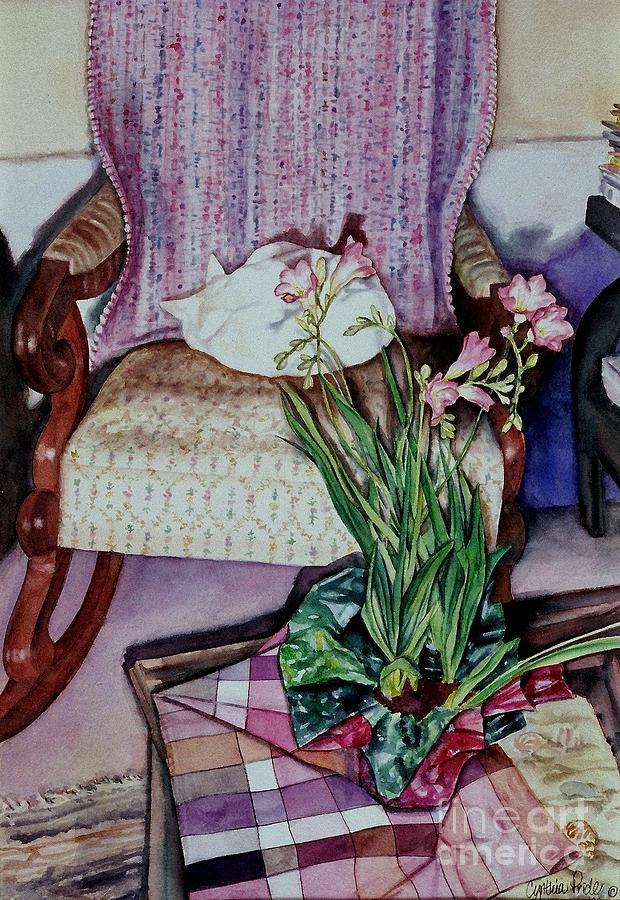 Cynthia Pride Watercolor Paintings Painting - Cozy Kitty by Cynthia Pride