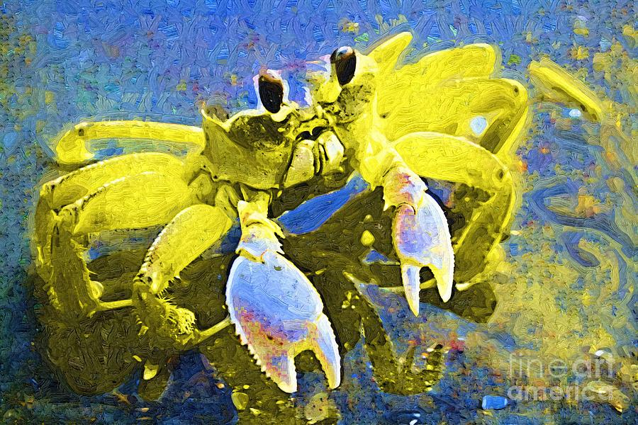 Crab Painting - Crabby And Cute by Deborah MacQuarrie-Haig