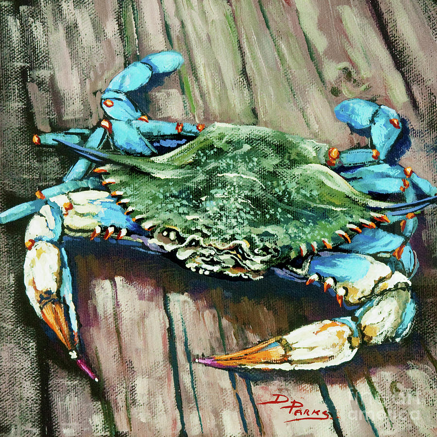 New Orleans Art Painting - Crabby Blue by Dianne Parks