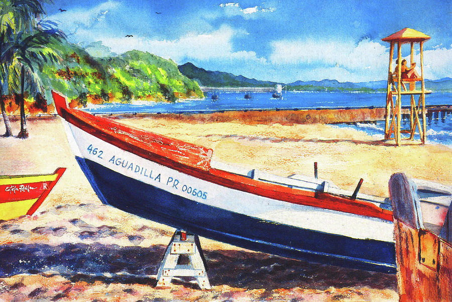 Watercolor Paintings Painting - Crash Boat Beach by Estela Robles