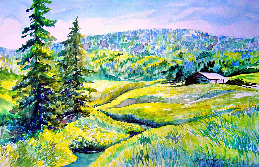 Arkansas Creek And Cottage Painting - Creek To The Cabin by Joanne Smoley