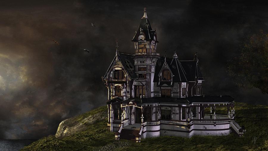 Mansion Digital Art - Creepy Mansion by Marie-Pier Larocque