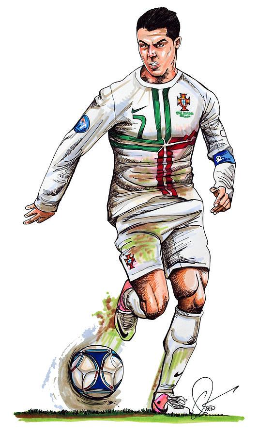 Cristiano Ronaldo.soccer Drawing - Cristiano Ronaldo by Dave Olsen