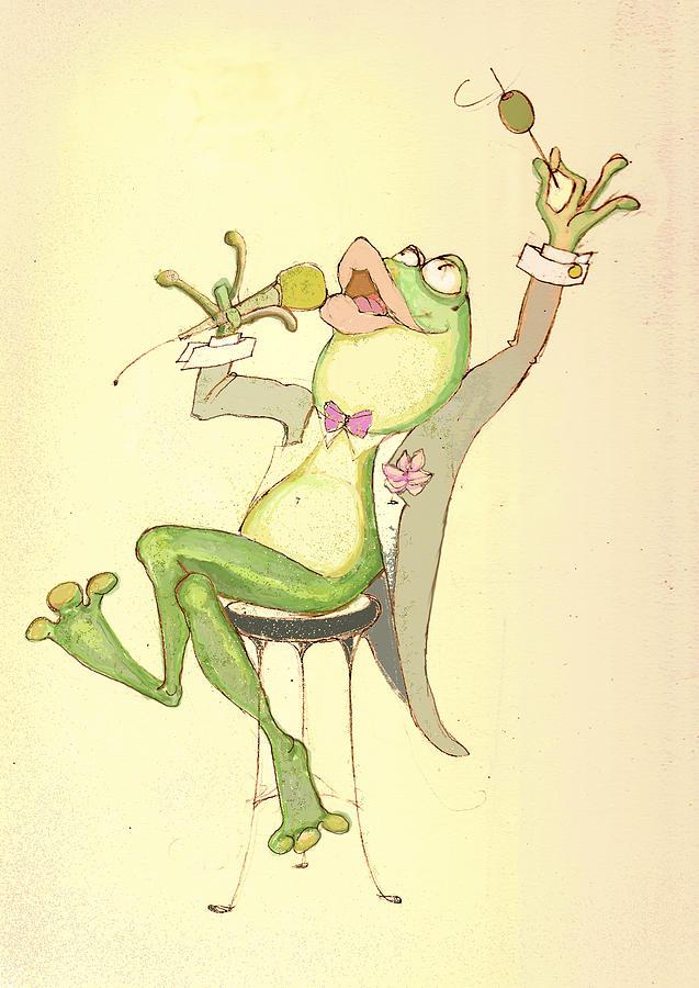 Frog Mixed Media - Croaky Karaoke by Peggy Wilson