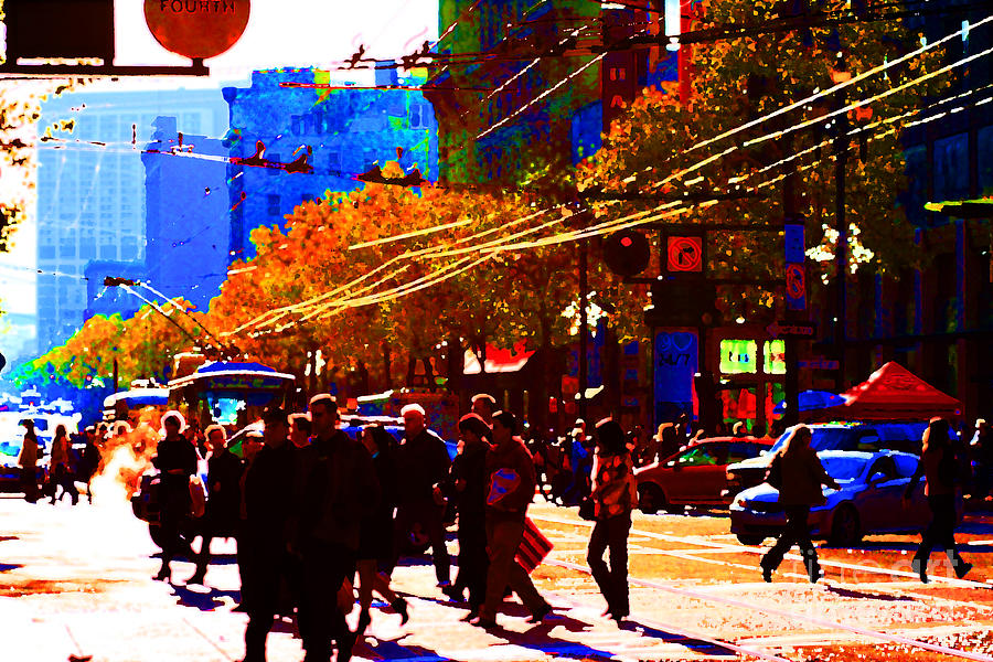 Market Street Photograph - Crossing Market Street . Photo Artwork by Wingsdomain Art and Photography