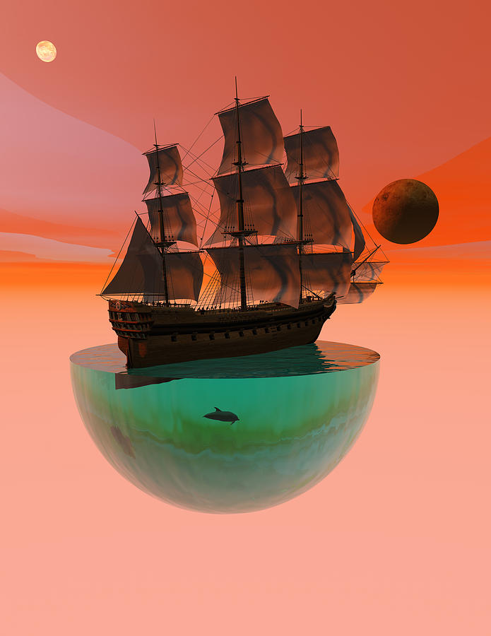 Bryce 3d Scifi Fantasy Windjammer sailing Ship Sailing Digital Art - Crossing The Expanse by Claude McCoy
